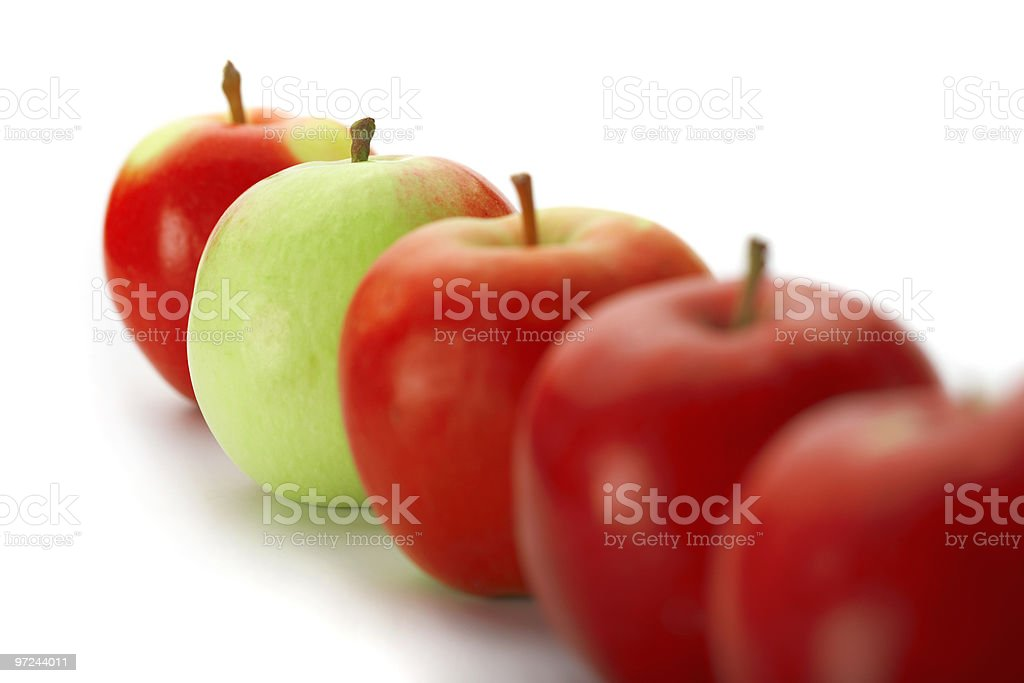 Group of red apples with green one royalty-free stock photo