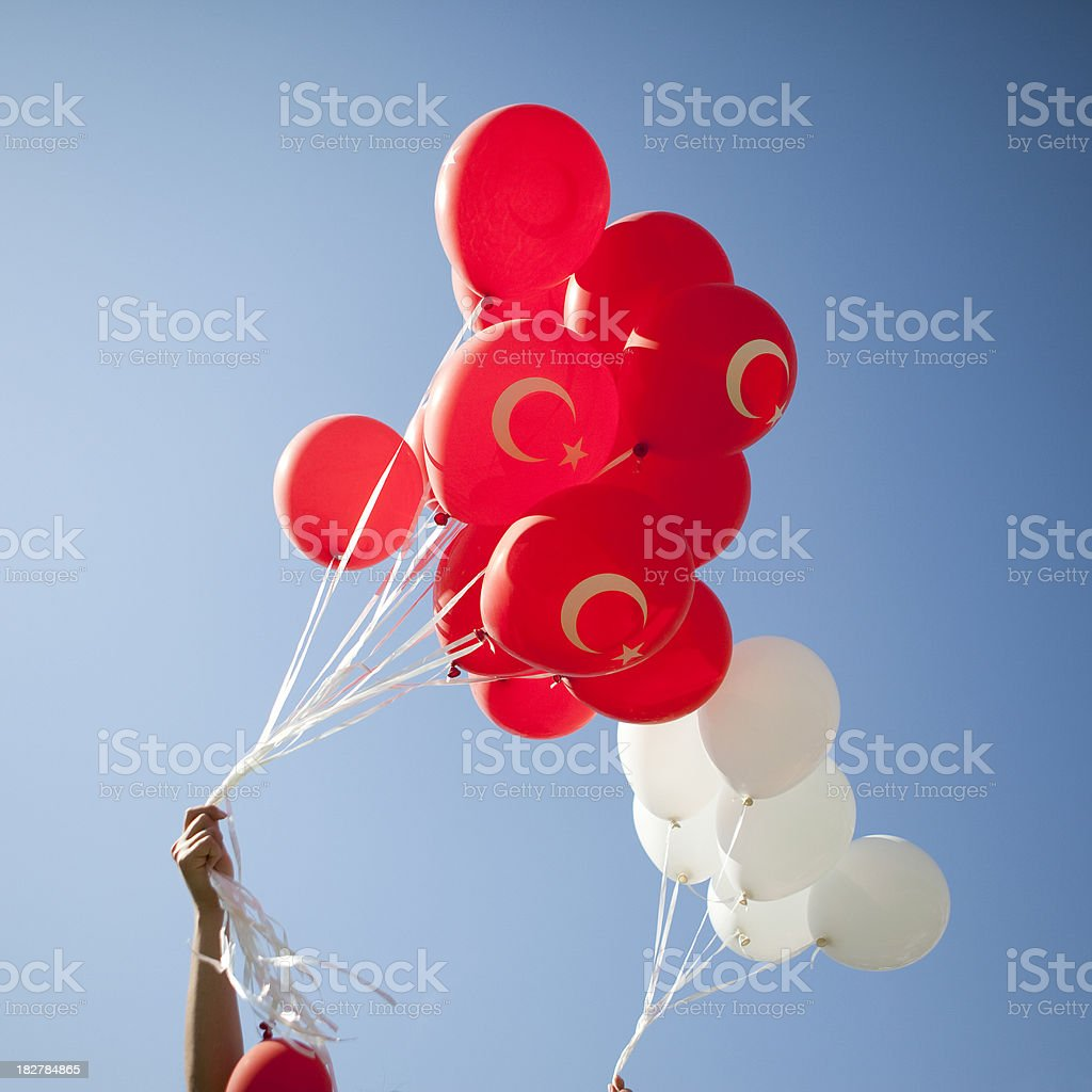 Group of red balloons royalty-free stock photo