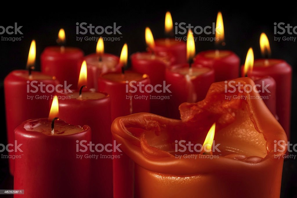 Group of red candles royalty-free stock photo