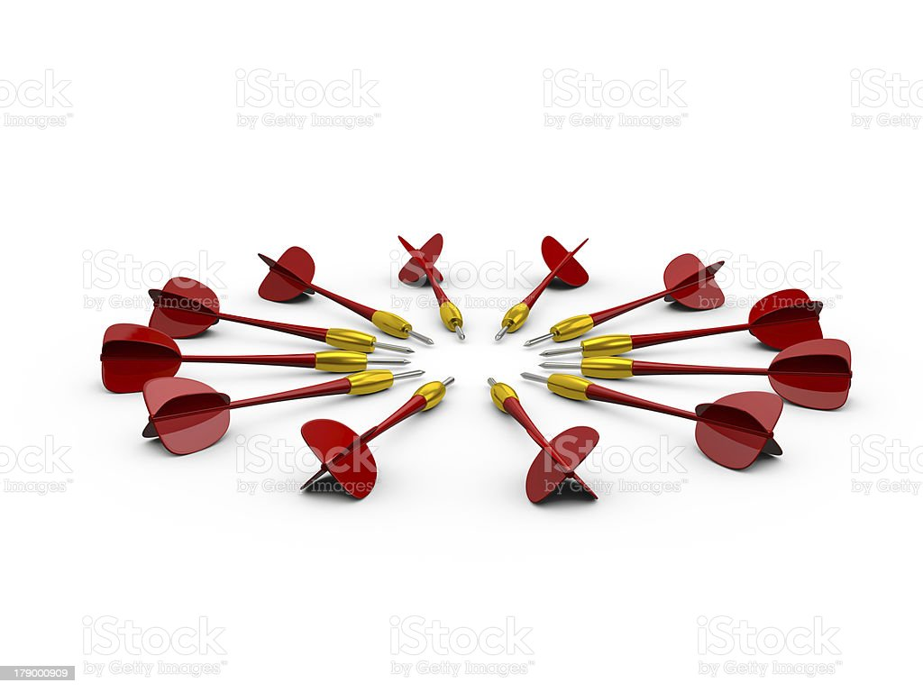 Group of Red Dart Arrows royalty-free stock photo