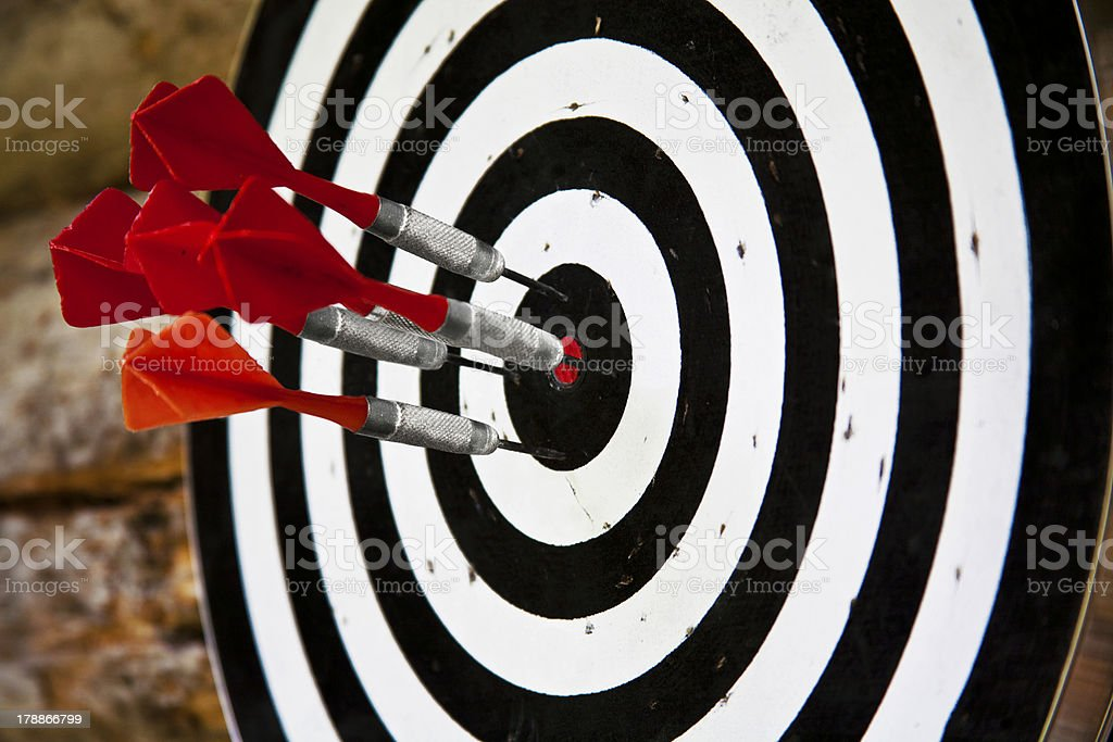 Group of red darts royalty-free stock photo