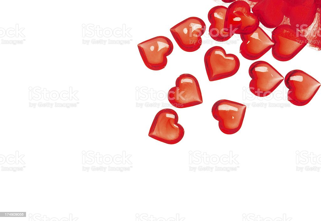 Group of red glass hearts royalty-free stock photo