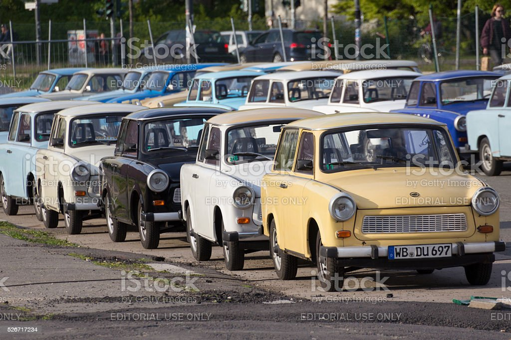 Group of rental Trabant cars  for sightseeing tours in Berlin stock photo