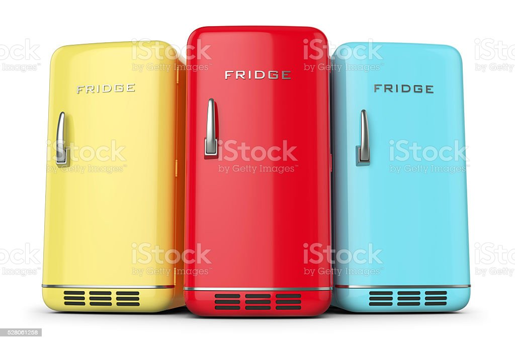 Group of retro colored fridges in row stock photo