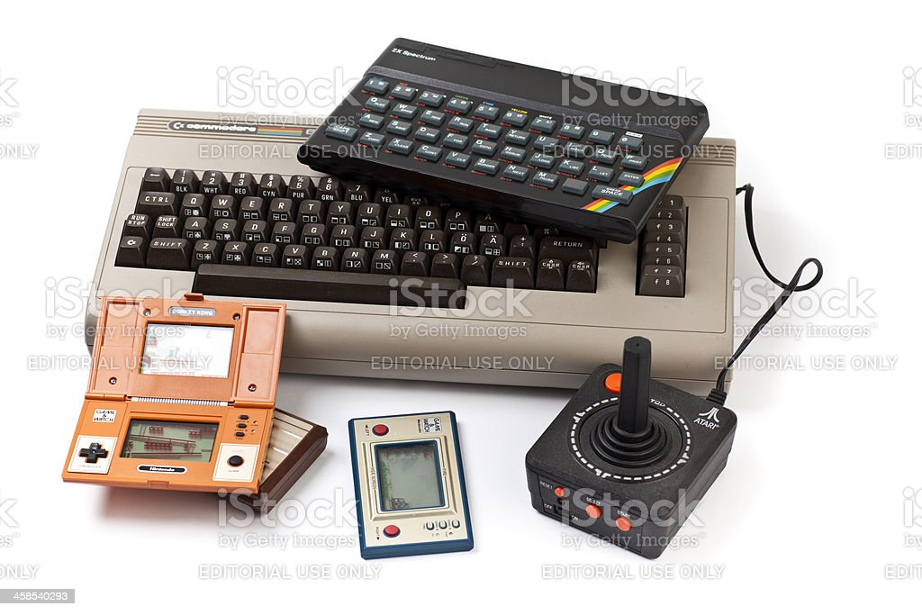 Group of retro computers and games stock photo