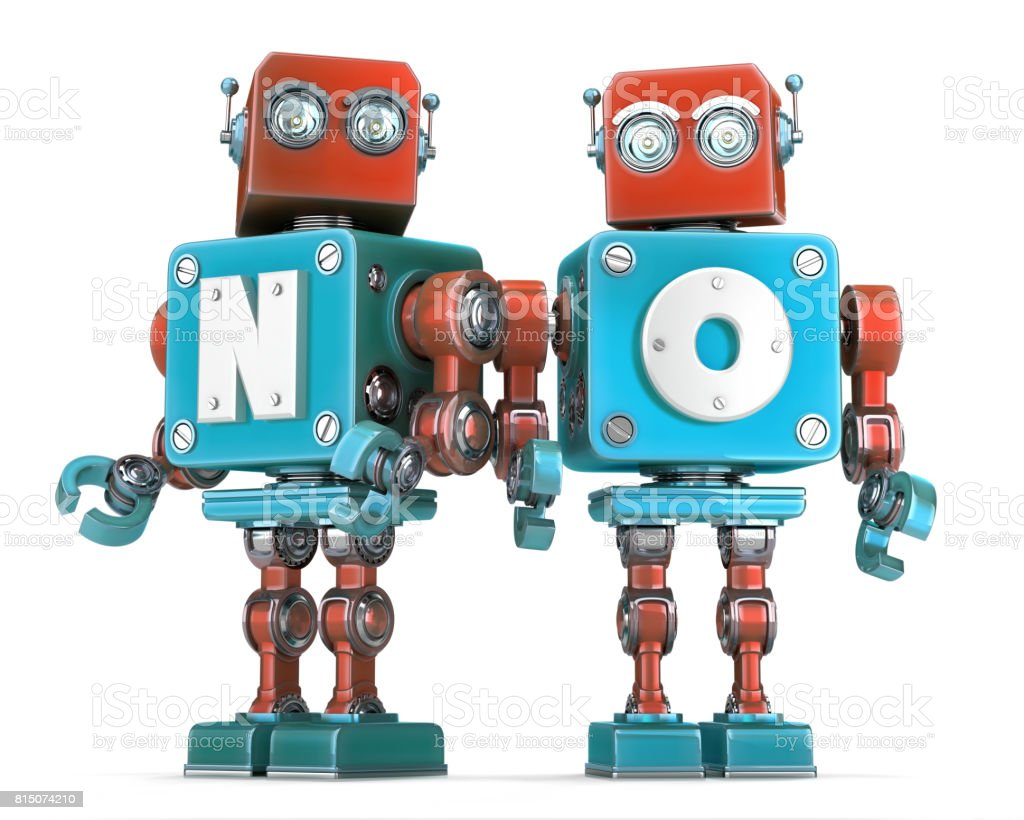 Group of Retro Robots with NO sign. Isolated. Cnotains clipping path stock photo