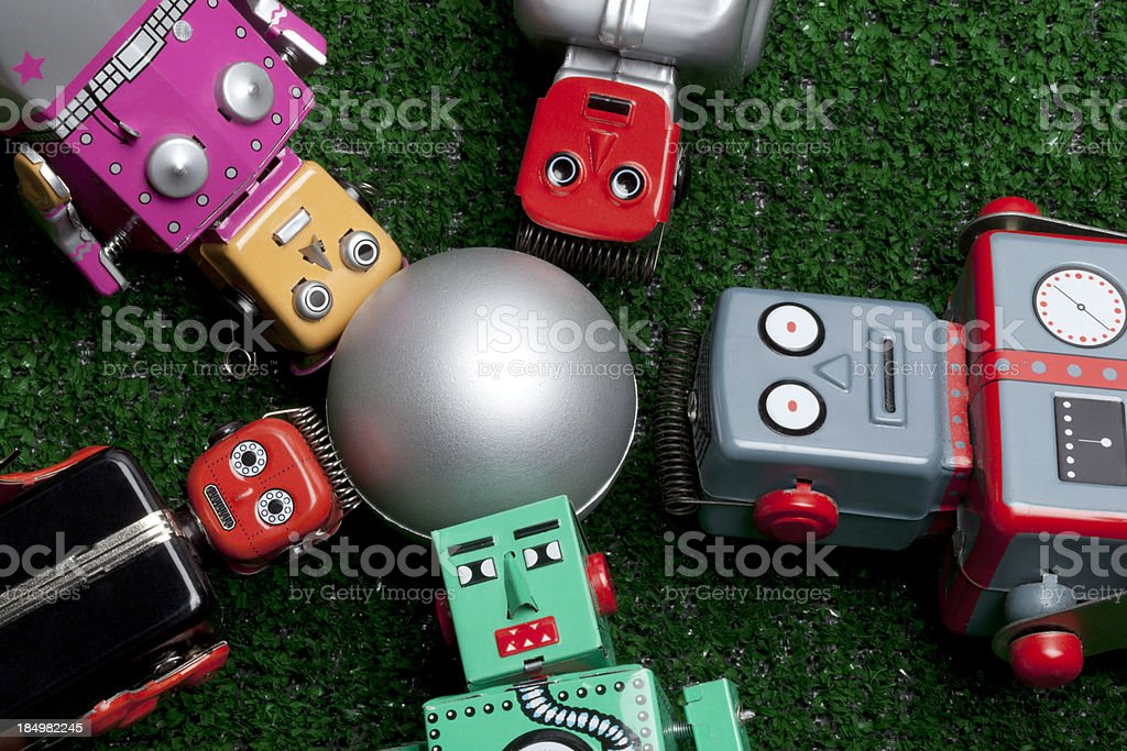 Group of Robot Toys royalty-free stock photo