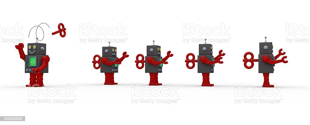 Group of robots in a row, one is different stock photo