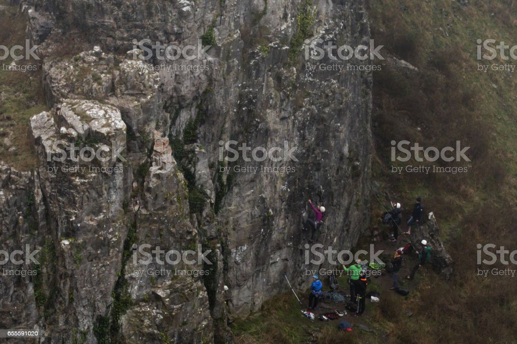 Group of rock climbers at Cheddar Gorge landscape stock photo