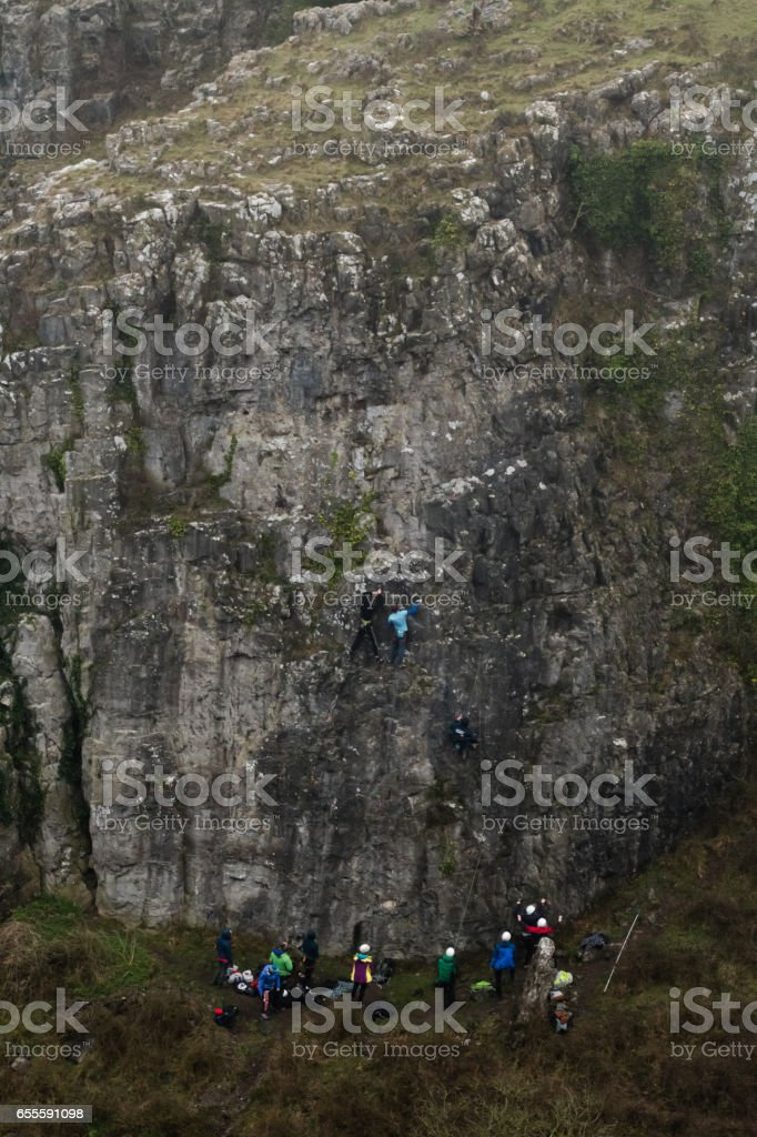 Group of rock climbers at Cheddar Gorge stock photo