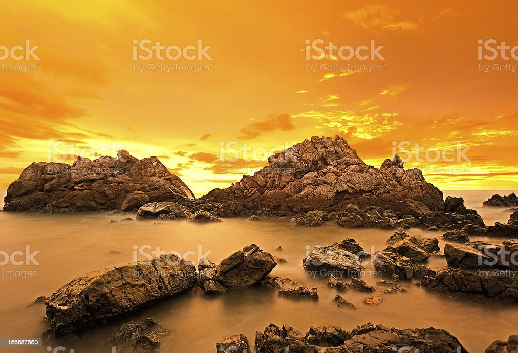Group of rocks at twilight royalty-free stock photo