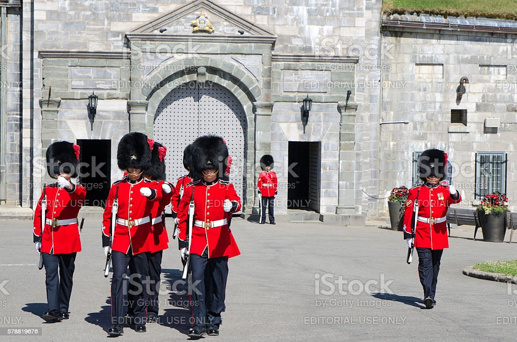 Group of Royal Guards marching at Quebec Citadel stock photo
