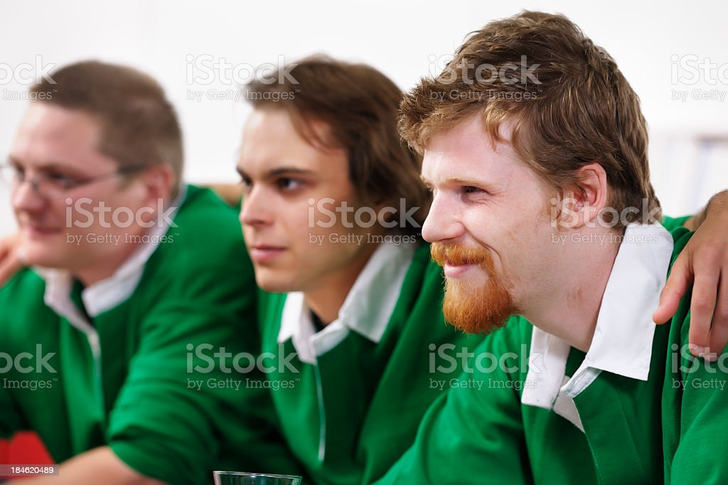 Group Of Rugby Fans/ Supporter Enjoying A Match stock photo