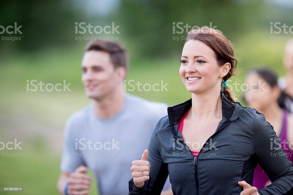Group of Runners Exercising Together stock photo