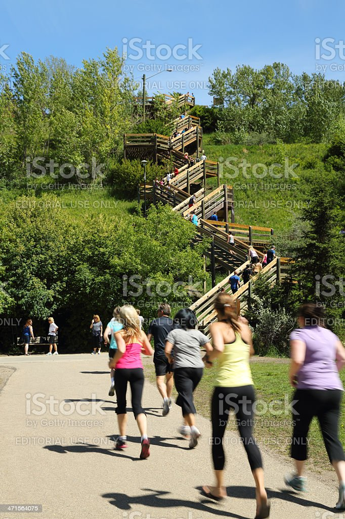 Group of Runners Heading to The Stairs royalty-free stock photo