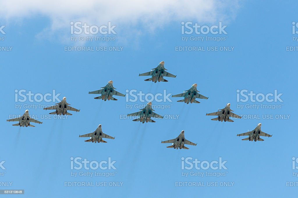 Group of Russian fighters fly over Red Square stock photo