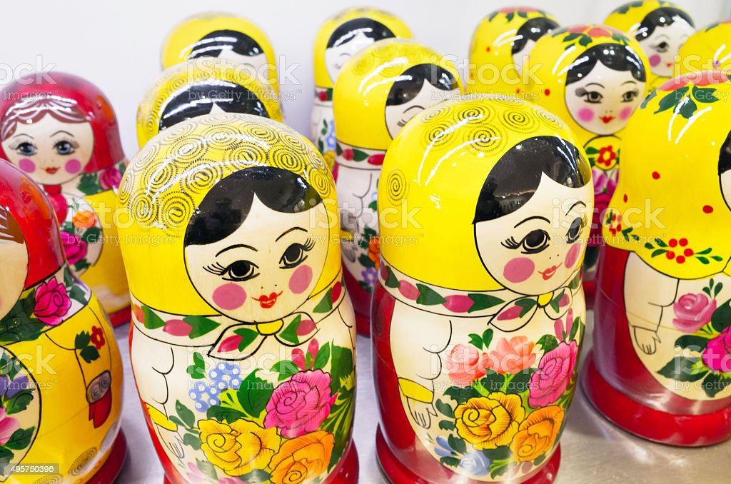 Group of Russian nesting dolls. Popular souvenir stock photo