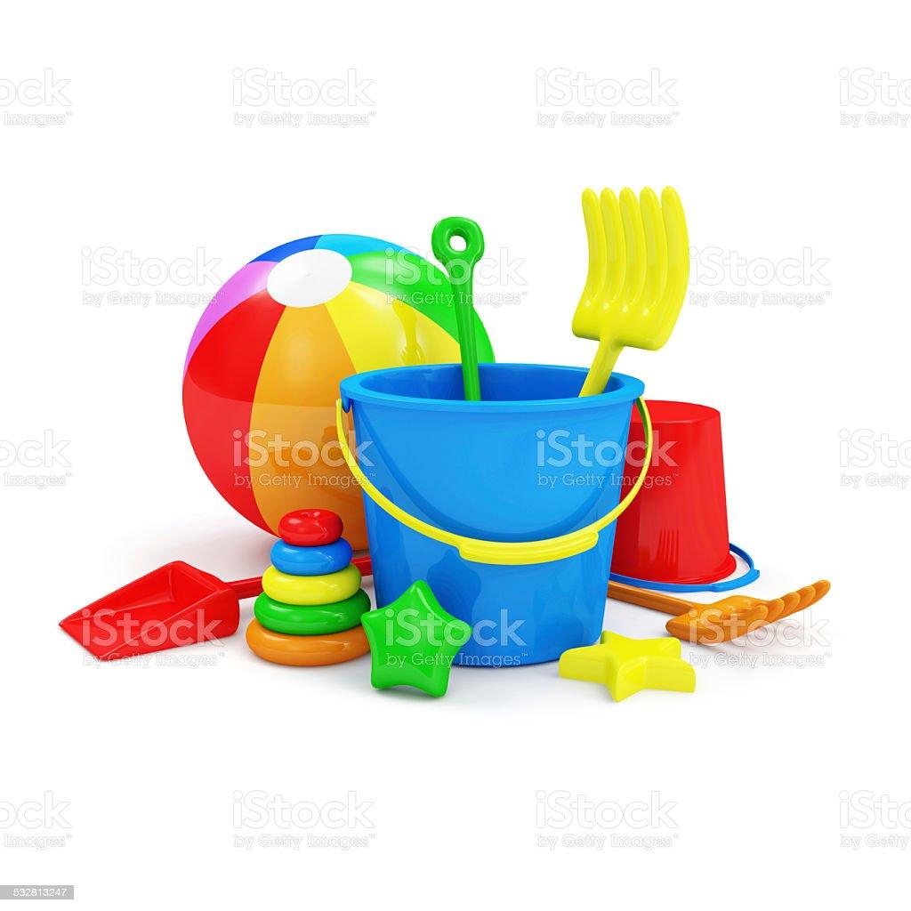 Group of Sandbox Toys isolated on white background stock photo