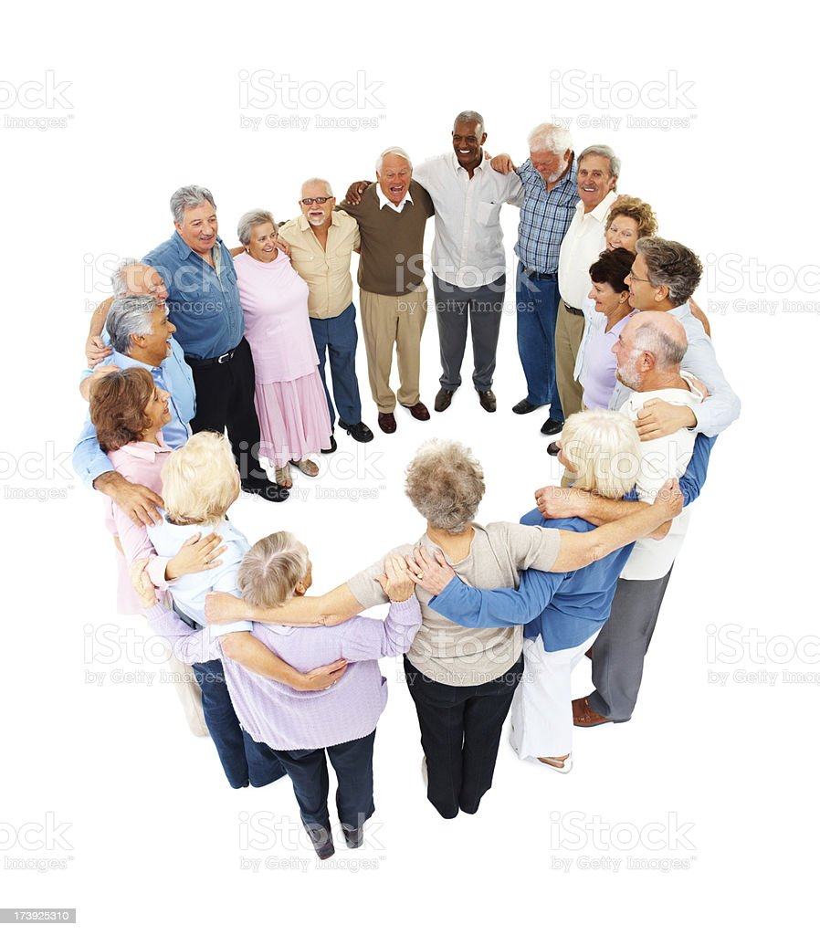Group of senior people in a circle royalty-free stock photo