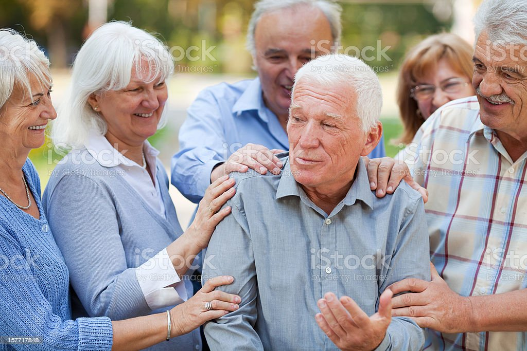 Group of senior people in park royalty-free stock photo