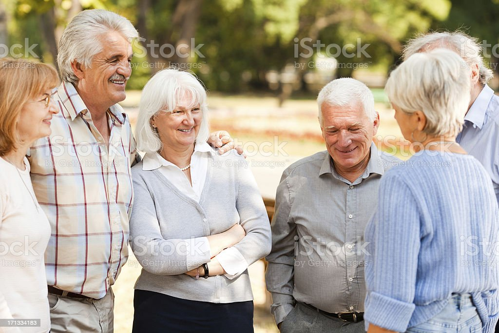 Group of senior people in park stock photo