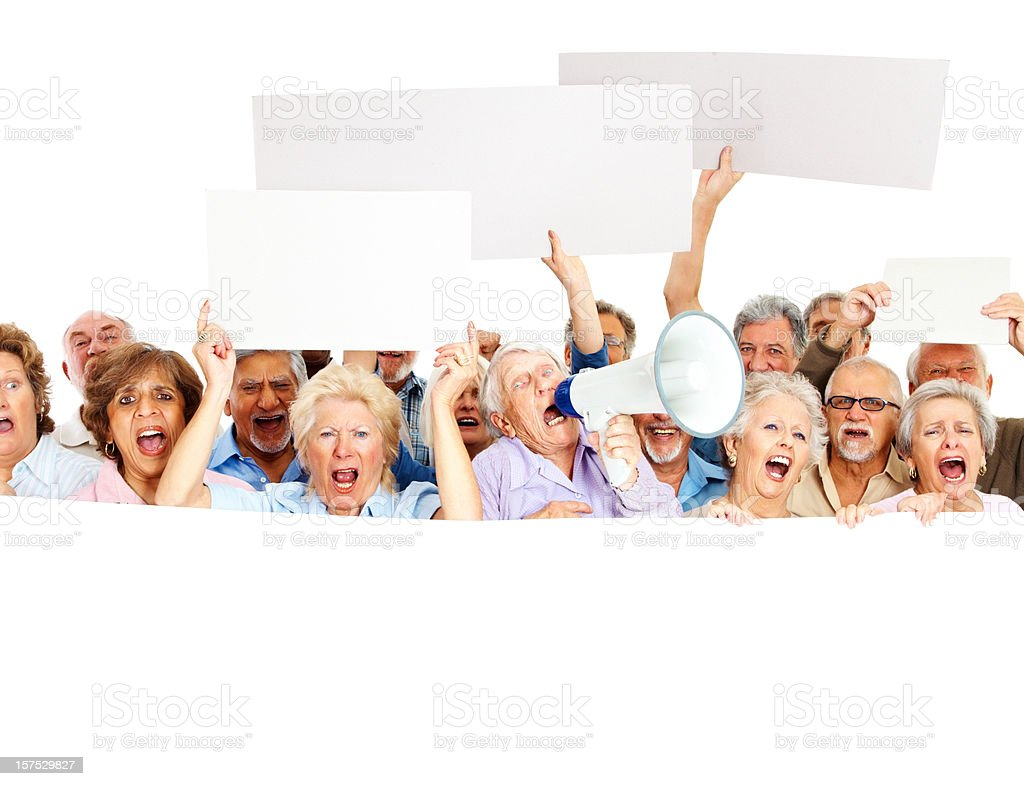Group of senior people protesting stock photo