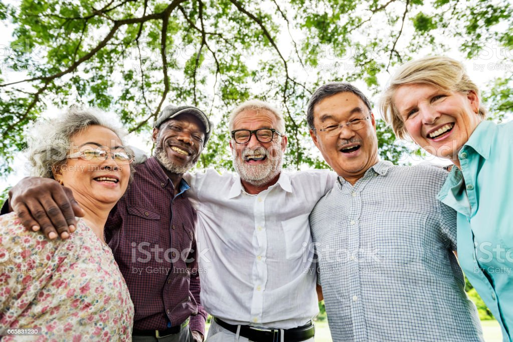 Group of Senior Retirement Discussion Meet up Concept stock photo