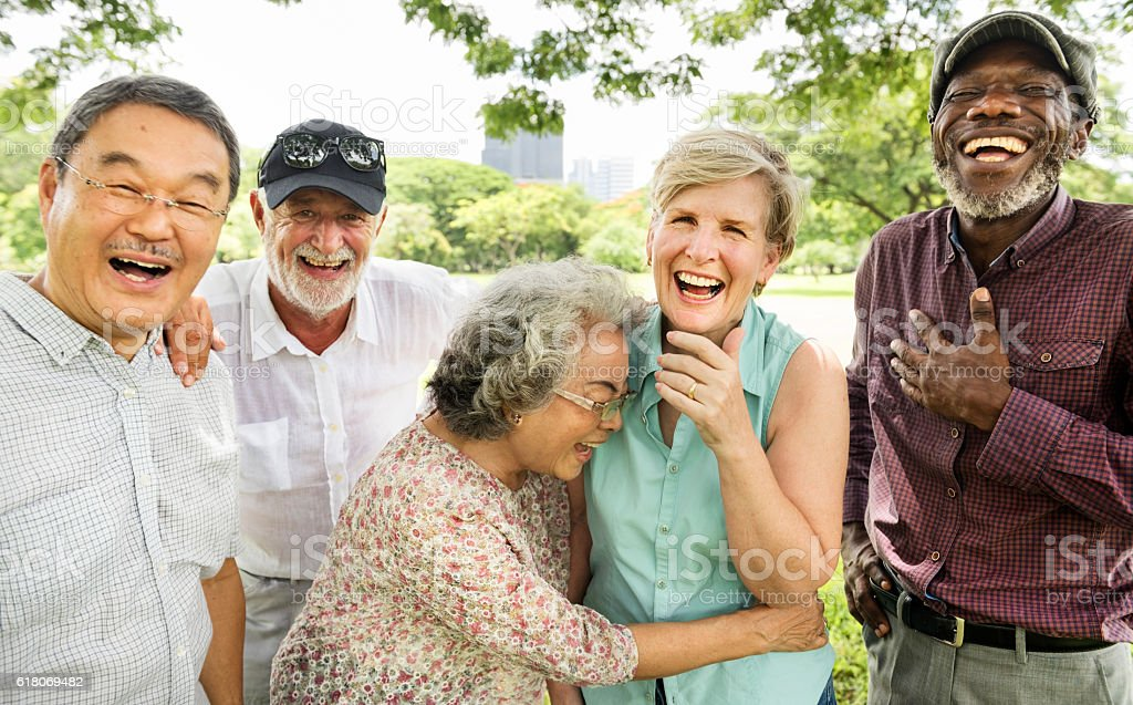 Group of Senior Retirement Friends Happiness Concept stock photo