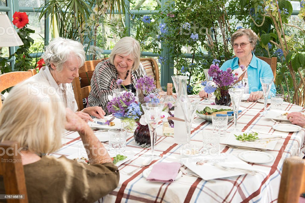 Group of senior women at lunch together stock photo
