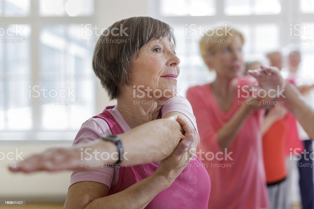 Group of seniors adults with Yoga Instructor royalty-free stock photo