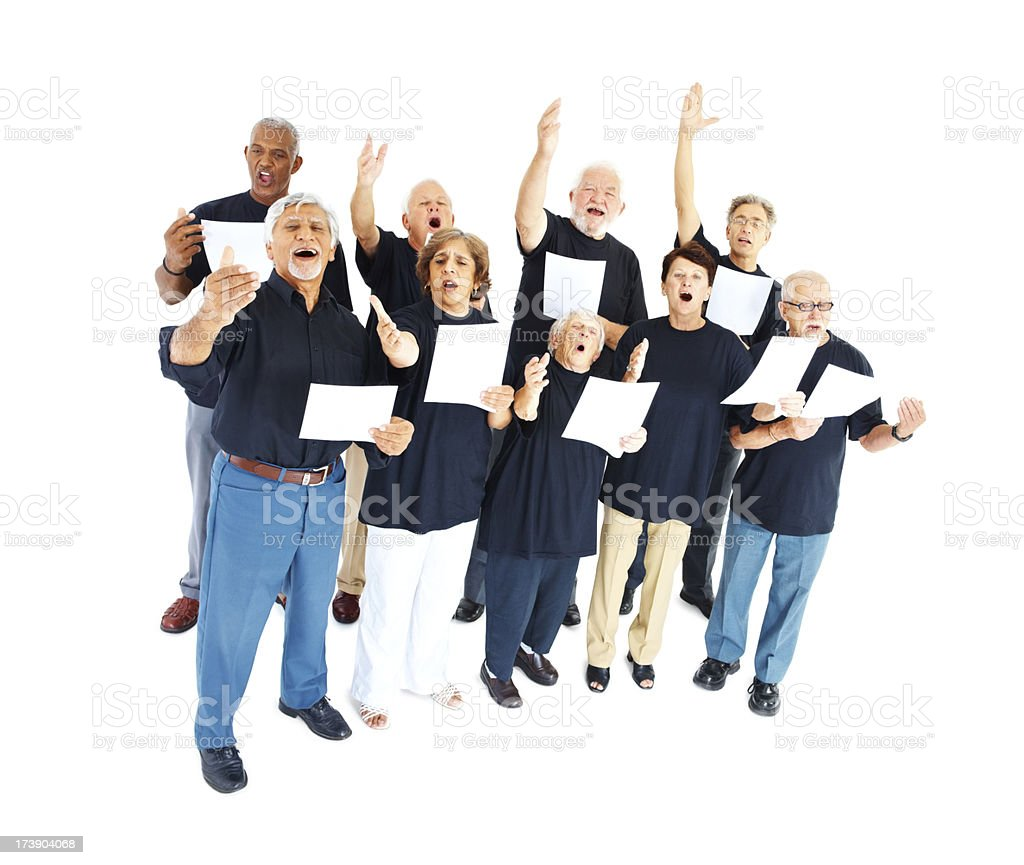 Group of seniors singing on white royalty-free stock photo