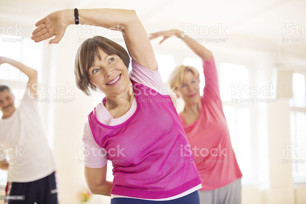 Group of senios in the yoga studio stock photo