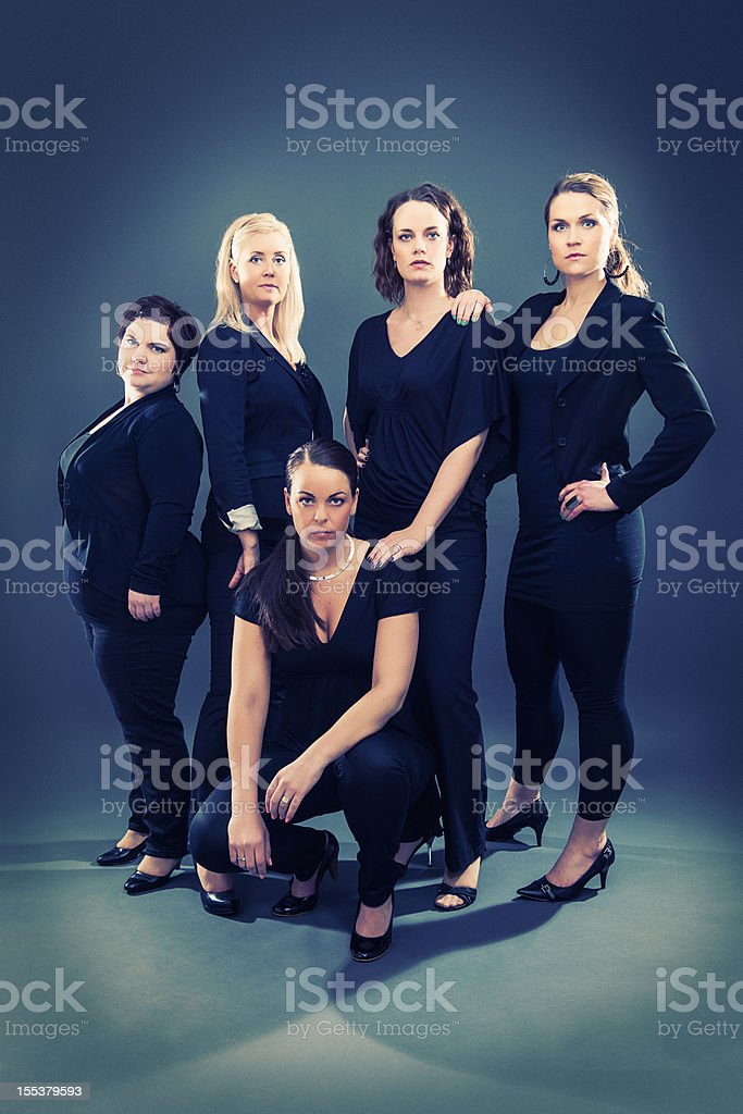Group of serious women royalty-free stock photo