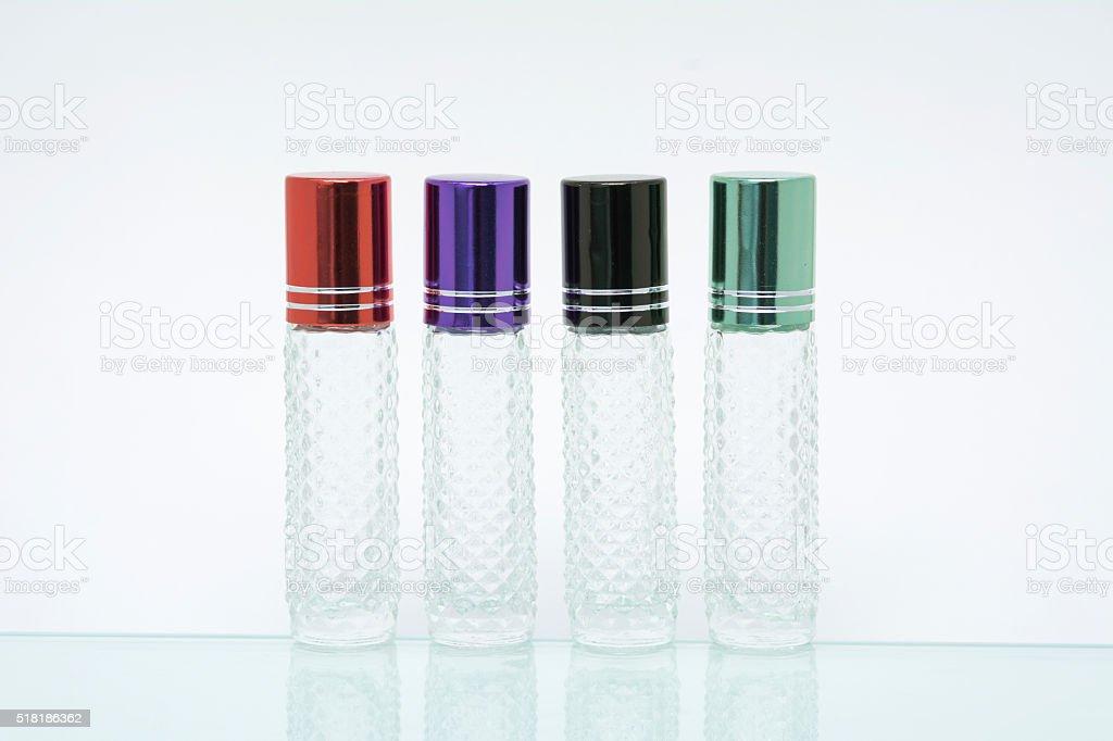 group of serum bottles on white backgrounds. stock photo