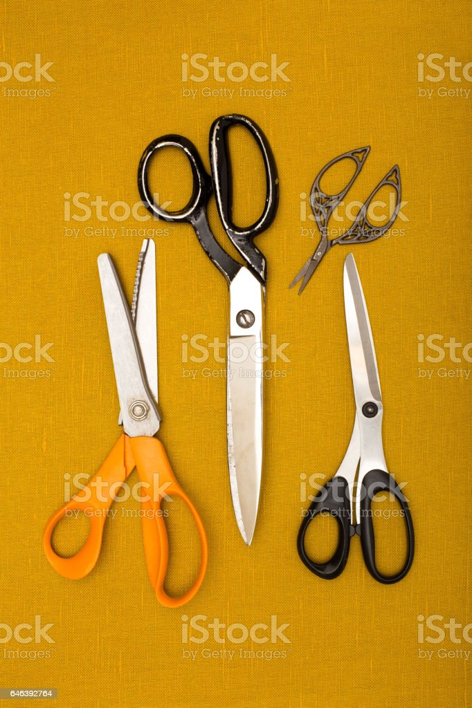Group of Sewing Shears and Scissors stock photo