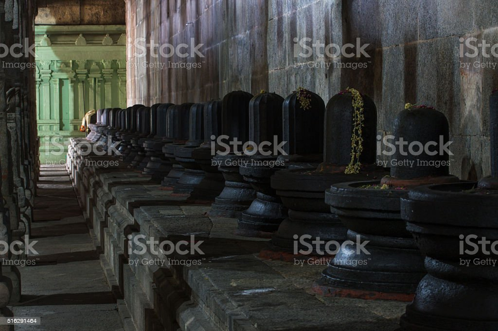 Group of Shiva lingams,   Ekambareswarar Templein Kanchipuram stock photo