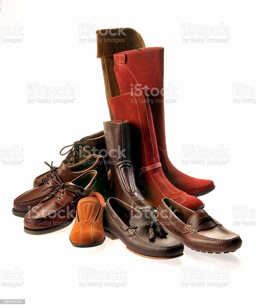 group of shoes and boots isolated on white stock photo