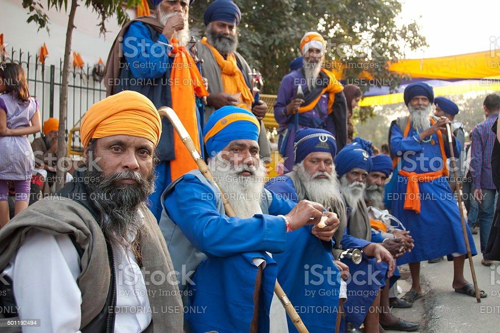 Group of Sikh men in a Dastars, New Delhi, India. stock photo