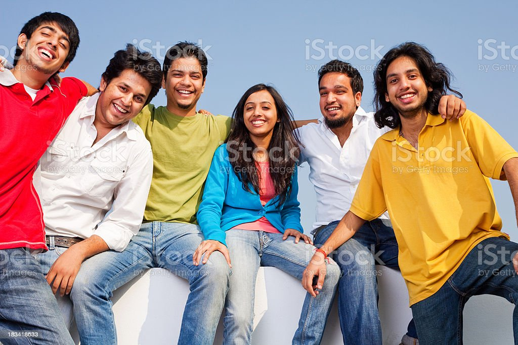 Group of Six Cheerful Young Indian Friends Male Female Outdoor royalty-free stock photo