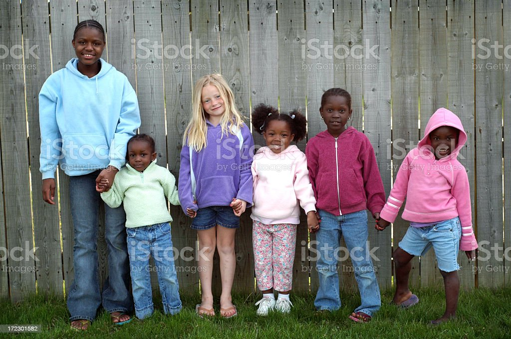 Group of Six Children Holding Hands royalty-free stock photo