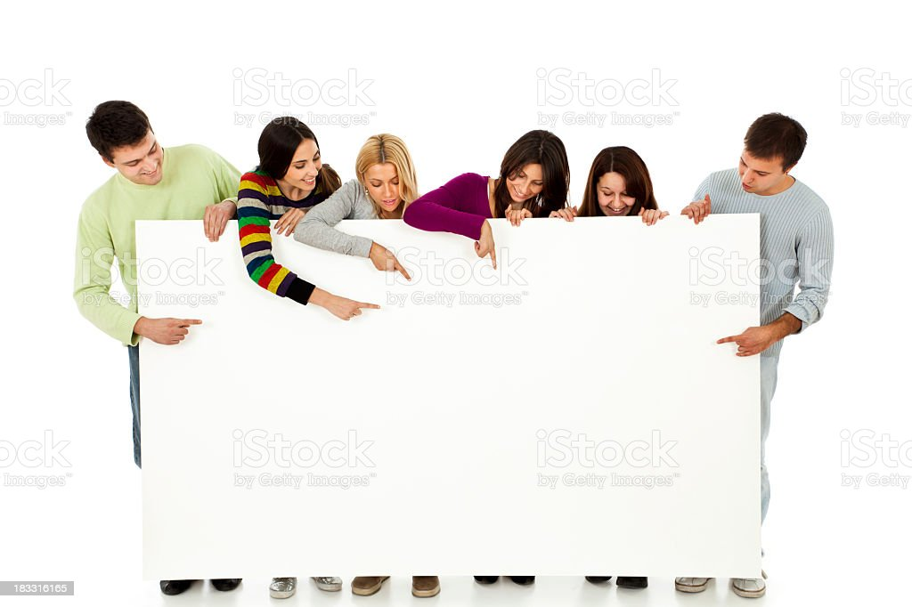 Group of six young people holding and showing blank banner royalty-free stock photo