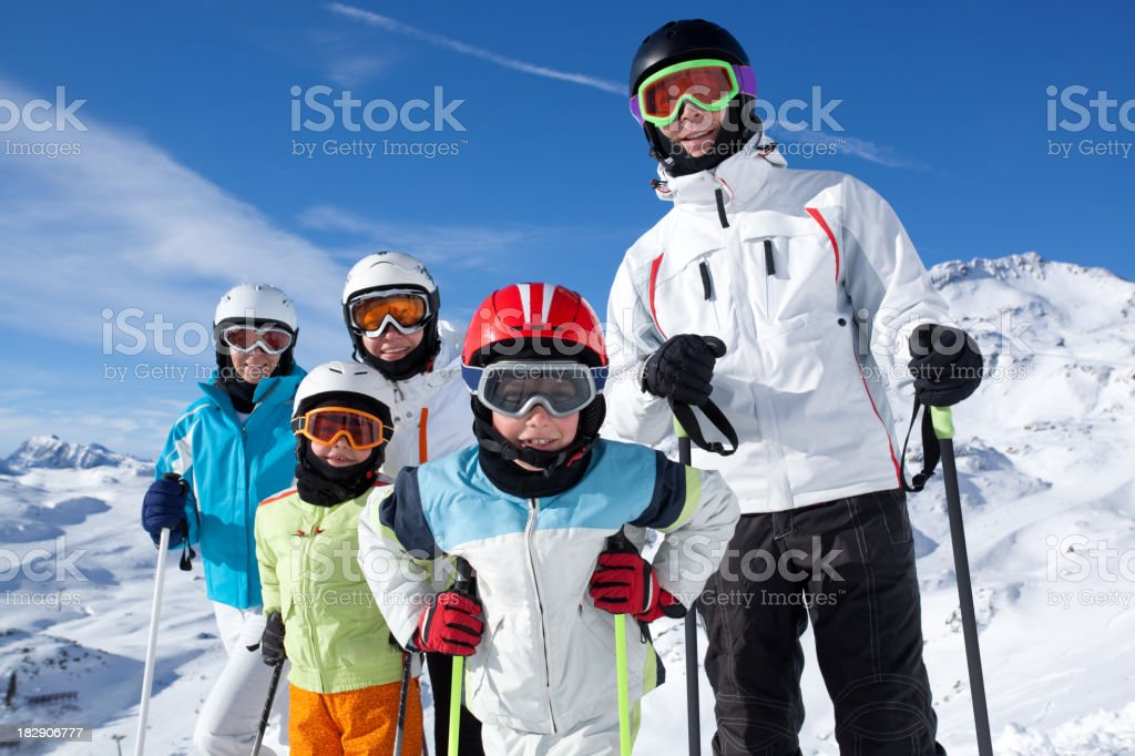 group of skiers in mountains royalty-free stock photo