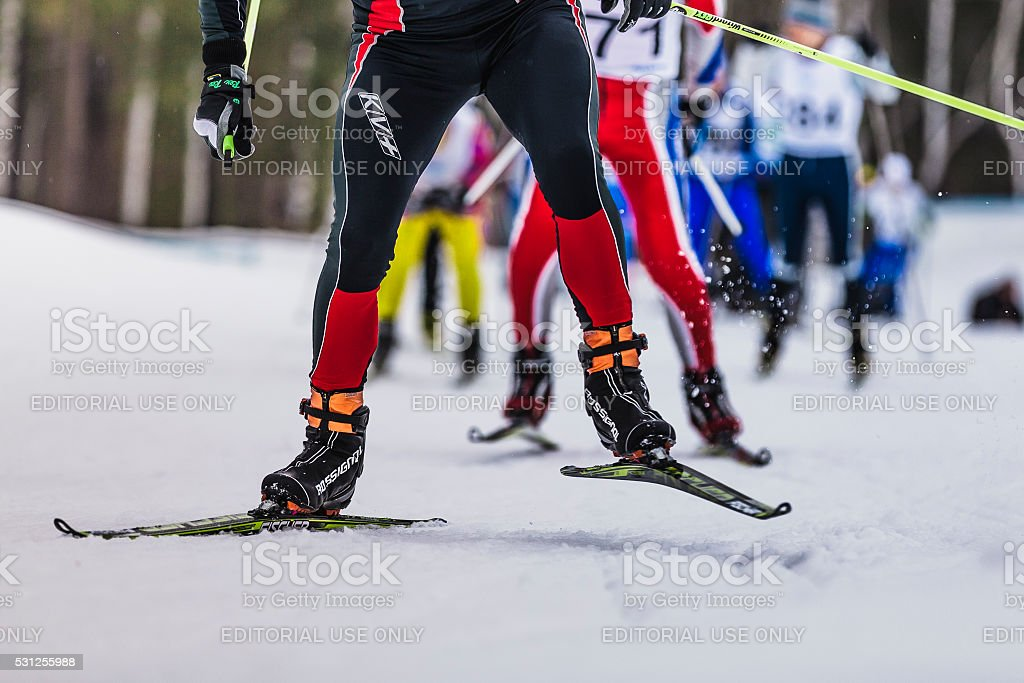 group of skiers up mountain stock photo