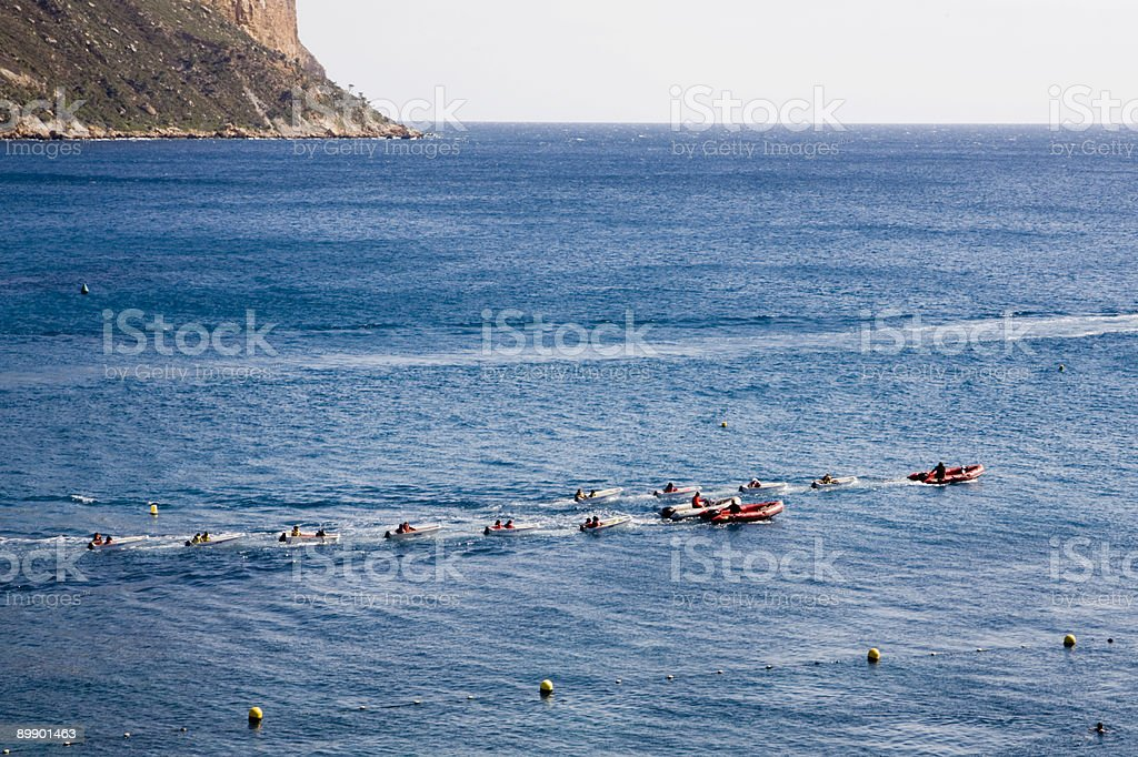 Group of Small Boats on the Mediterranean stock photo