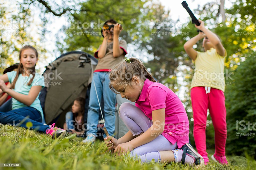 Group of small explorers on a camping in the park. stock photo