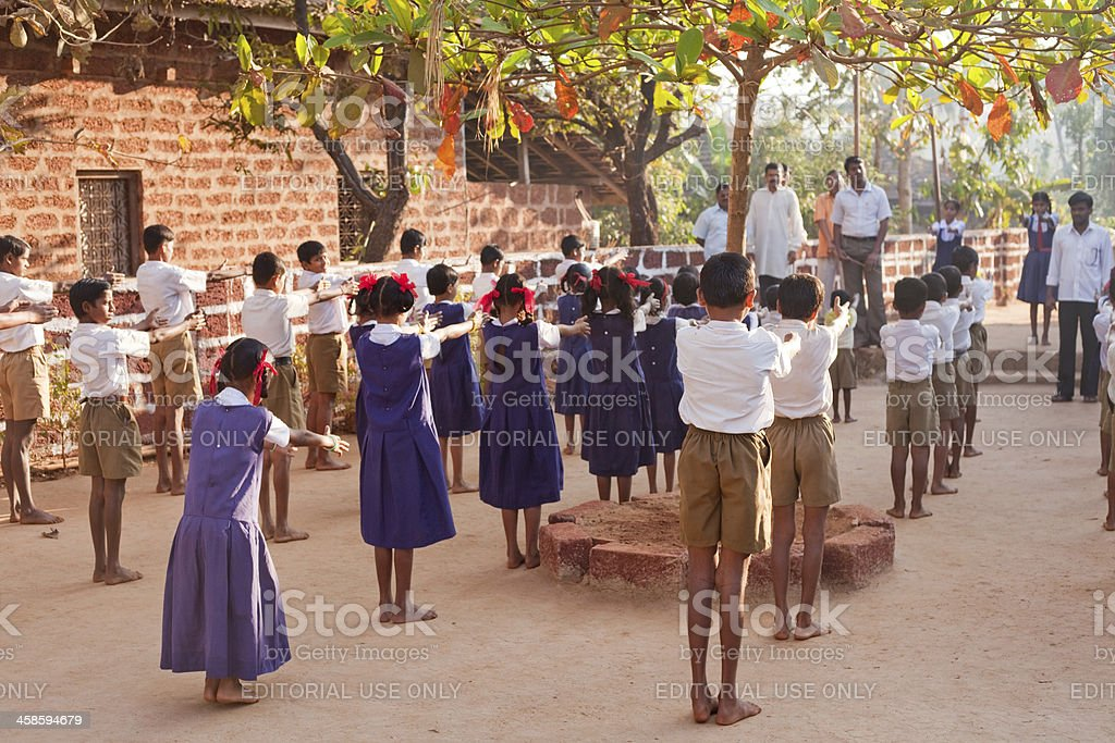 Group of small Indian children in Rural School Morning Assembly royalty-free stock photo