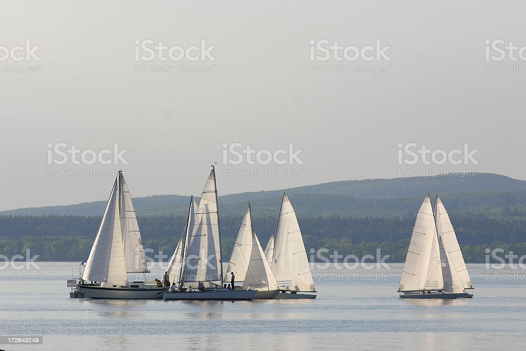Group of small sail leisure boats royalty-free stock photo