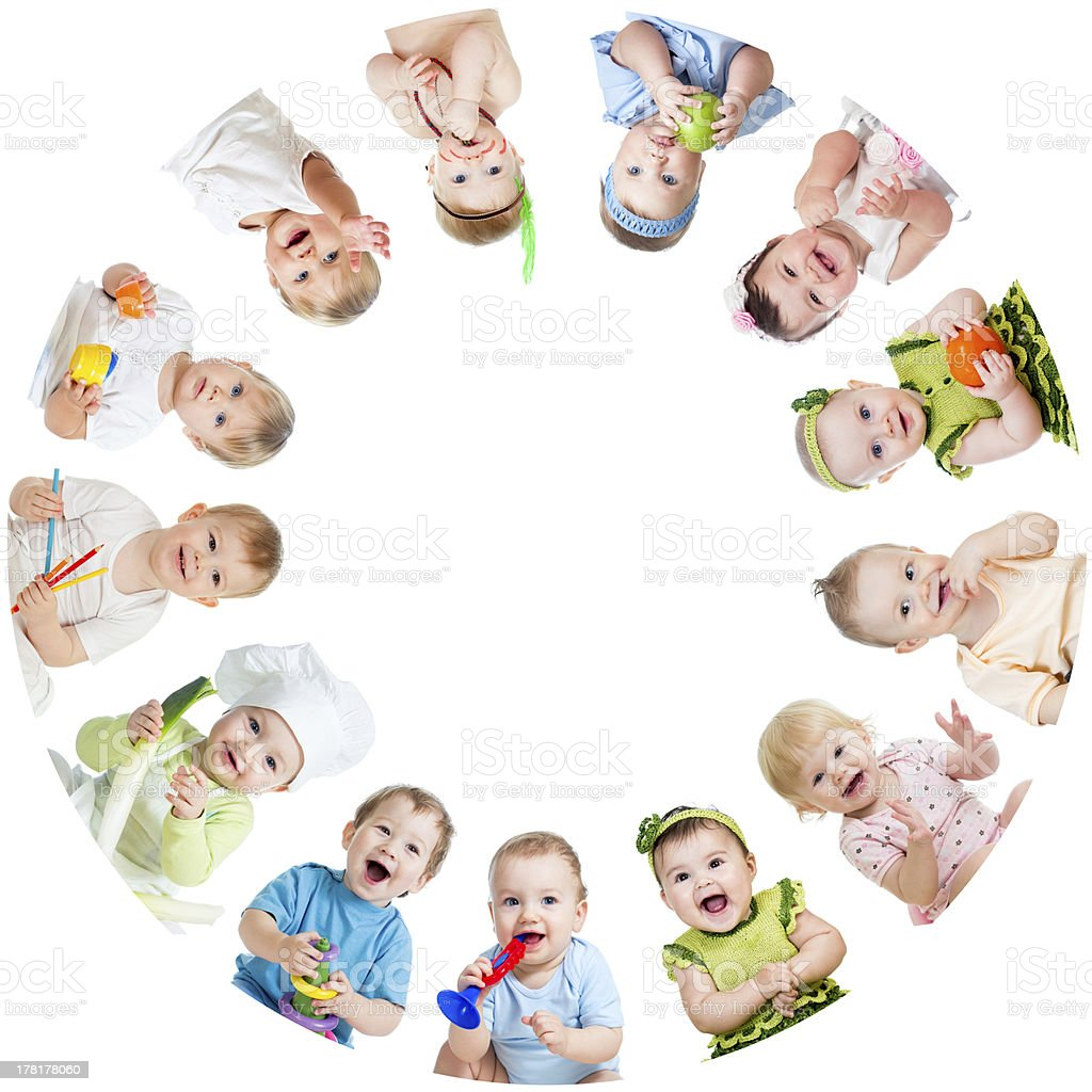 Group of smiling babies arranged in circle stock photo