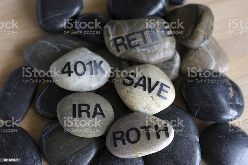 A group of smooth stones depicting retirement zen stock photo
