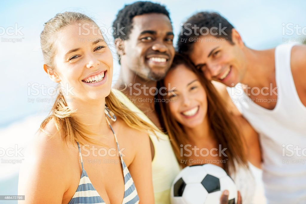 Group of soccer fans royalty-free stock photo